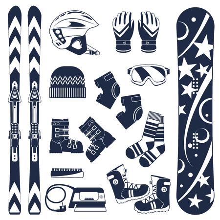 Sprzęt narciarski lub zestaw sprzętu narciarskiego. Sporty ekstremalne zimowe. Narty, gogle, buty narciarskie i inne ubrania. Wektor zestaw ikon narciarskich.
