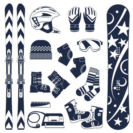Ski equipment or ski kit. Extreme winter sports. Ski, goggles, boots and other ski clothes. Vector set of ski icons.