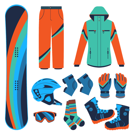 Snowboard equipment or snowboard kit. Extreme winter sports. Snowboard, snowboard goggles, snowboard boots and other snowboard clothes. Vector set of snowboard icons. Vettoriali