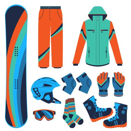 Sprzęt snowboardowy lub zestaw snowboardowy. Ekstremalne sporty zimowe. Snowboard, gogle snowboardowe, buty snowboardowe i inne ubrania snowboardowe. Wektor zestaw ikon snowboardowych. Ilustracje wektorowe