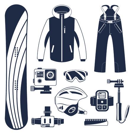 Sprzęt snowboardowy lub zestaw snowboardowy. Ekstremalne sporty zimowe. Snowboard, gogle snowboardowe, buty snowboardowe i inne ubrania snowboardowe. Wektor zestaw ikon snowboardowych.