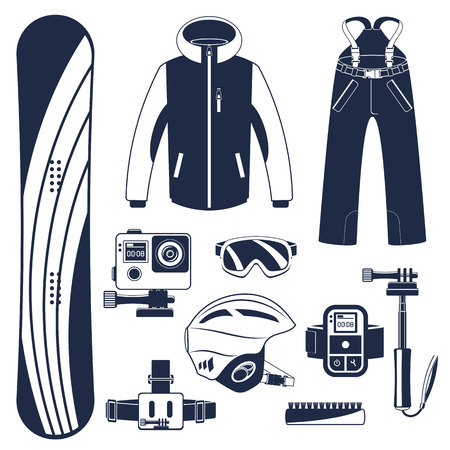 Snowboard equipment or snowboard kit. Extreme winter sports. Snowboard, snowboard goggles, snowboard boots and other snowboard clothes. Vector set of snowboard icons. Illustration