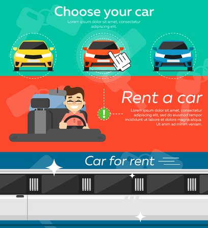 car salesperson: Rent a cars and trading Cars in flat design web banners elements. Keys to the car on rent. Rental car infographic. Web design elements.