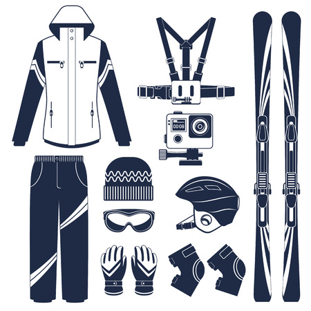 snow ski: Ski equipment or ski kit. Extreme winter sports. Ski, extreme camera, goggles, boots and other ski clothes. Vector set of ski icons. Illustration