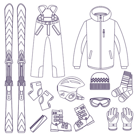 skis: Line style vector ski Equipment or ski kit. Extreme winter sports. Ski, goggles, boots and other ski clothes. Vector set of line style ski icons.