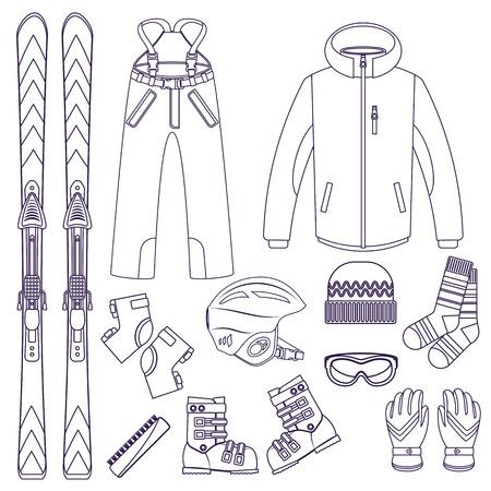 skis: Line style vector ski Equipment or ski kit. Extreme winter sports. Ski, goggles, boots and other ski clothes. Vector set of line style ski icons.