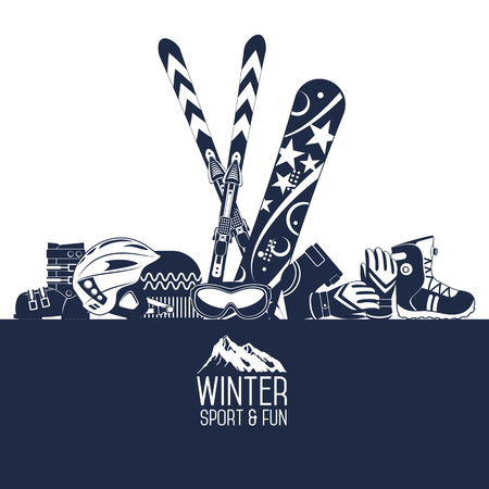 Ski equipment or ski kit. Extreme winter sports. Ski, ski camera, ski boots and other extreme ski clothes. Vector set of ski icons.