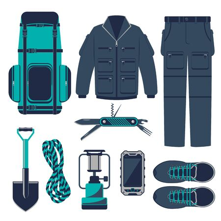 hike: Hiking set of icons and hiking equipment. Hike, walking and travel. Extreme tourism. Vector illustrations elements and concept for design banners and graphic materials.