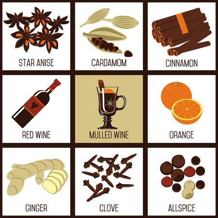 Ingredienti per vin brulè. Una bevanda classico per clima invernale, Natale o Capodanno.