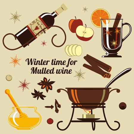 Zutaten für Glühwein. Ein klassisches Getränk für Winter Wetter, Weihnachten oder Silvester.