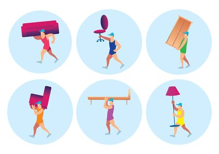 cargo furniture  Home delivery services icons of furniture set  Colorful  vector illustration  Illustration. 356 Cargo Furniture Stock Vector Illustration And Royalty Free