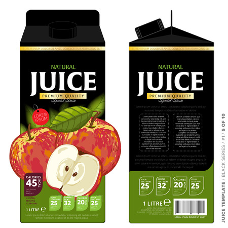 Vorlage Packaging Design Apfelsaft. Konzeption von Fruchtsaft. Vorlage mit abstrakten Informationen auf Pappkarton. Vector Verpackung von Apfelsaft. Verpackungselemente aus Karton Vorlage