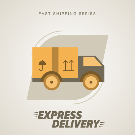 Express Delivery Vector Truck. Elements of Trucking . Fast Shipping Service Van. Icon Delivery vector. Express Delivery of Goods. Delivery Service, Cargo Delivery.