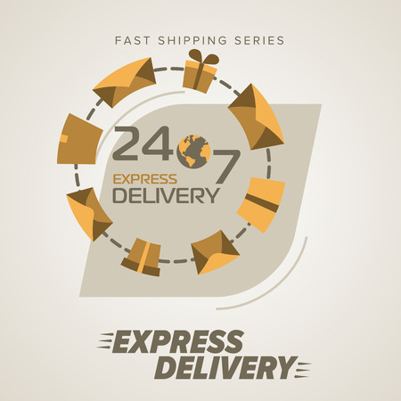 delivery person: Express Delivery Services. Round the clock service, seven days a week. Fast Shipping. Icon Delivery vector. Express Delivery of Goods. Delivery Service, Cargo Delivery. Illustration