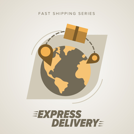 delivery service: Express Delivery Services. Elements of Trucking. Worldwide Shipping. Icon Delivery vector. Express Delivery of Goods. Delivery Service, Cargo Delivery.
