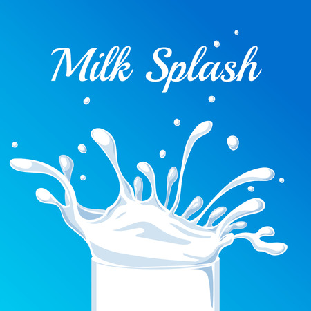 organic fluid: Milk Splash. Vector Splash of Milk on a blue background. Beautiful Splash, suitable for design of Packing Milk or Milkshake. Milk Splash with Drops of Milk. Illustration