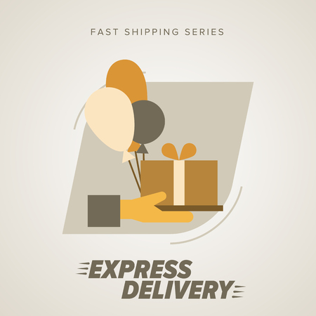 fast shipping: Express Delivery Services. Elements of Trucking. Fast Shipping. Icon Delivery vector. Gifts delivery into the hands. Illustration