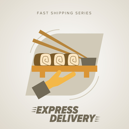 trucking: Fast food Delivery, sushi and other. Express Delivery Services. Elements of Trucking. Fast Shipping. Icon Delivery vector.