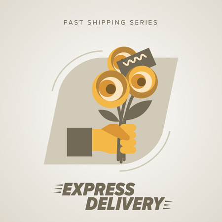 trucking: Express Flowers Delivery Service. Elements of Trucking. Fast Shipping. Icon Delivery vector. Express Delivery of Goods. Delivery Service.