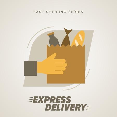 silueta hombre: Expresar la Alimentaci�n de prestaci�n de servicios. Elementos de transporte por carretera. Env�o r�pido. Icono del vector de entrega. Servicio de entrega.
