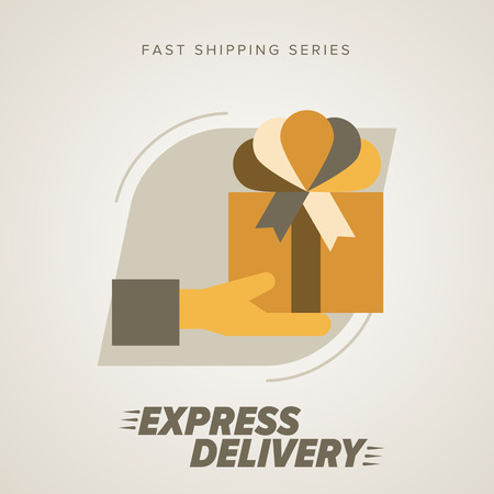 delivery person: Express Delivery Services. Elements of Trucking. Fast Shipping. Icon Delivery vector. Gifts delivery into the hands. Illustration