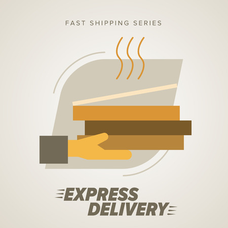 trucking: Fast food Delivery, Pizza and other. Express Delivery Services. Elements of Trucking. Fast Shipping. Icon Delivery vector.