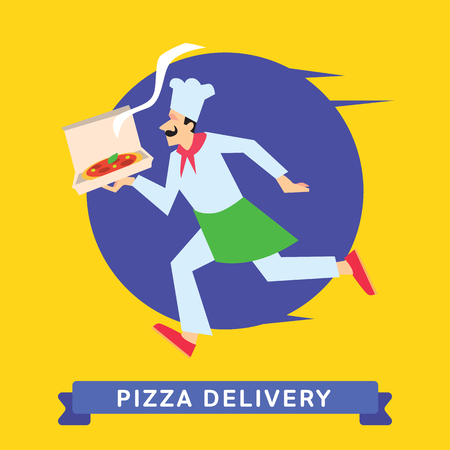 fast food: Delivery service of Fast Food Pizza on cartoon character man. Pizza Delivery Service. Pizza Food Delivery.