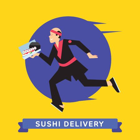 fast food: Delivery service of Japanese Food Sushi on cartoon character man. Sushi Delivery Service. Sushi Food Delivery.