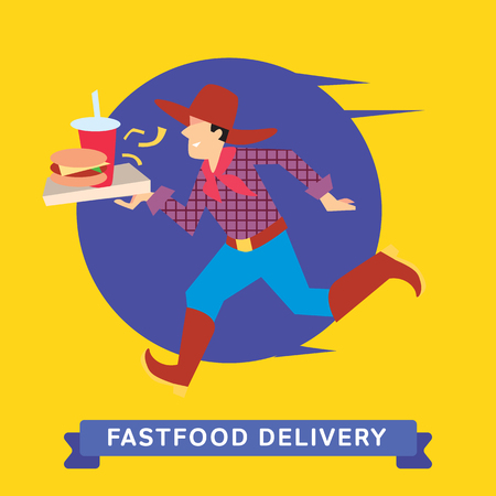 fast shipping: Delivery service of Fast Food Burger and Cola on cartoon character man. Burger and Cola Delivery Service. Burger and Cola Food Delivery.