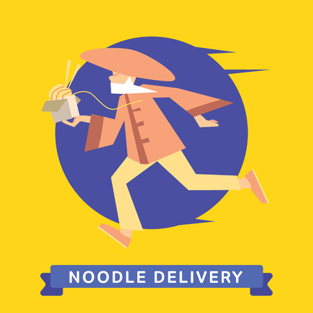 fast shipping: Delivery service of Chinese Noodle on cartoon character man. Chinese Noodle Delivery Service. Chinese Noodle Food Delivery.