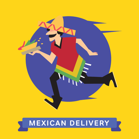 fast shipping: Delivery service of Mexican Food Burrito on cartoon character man. Mexican Food Delivery Service. Burrito Food Delivery. Illustration