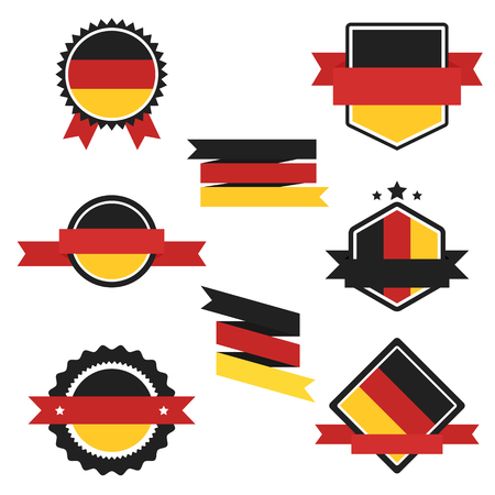 bandera de alemania: Banderas del mundo de la serie. Bandera de Alemania en las etiquetas, etiquetas engomadas del Web, banners y colección de etiquetas. vector de la etiqueta en colores nacionales de la bandera alemana. Bandera del vector de Alemania. Insignia, bandera, emblema del vector en EPS 10