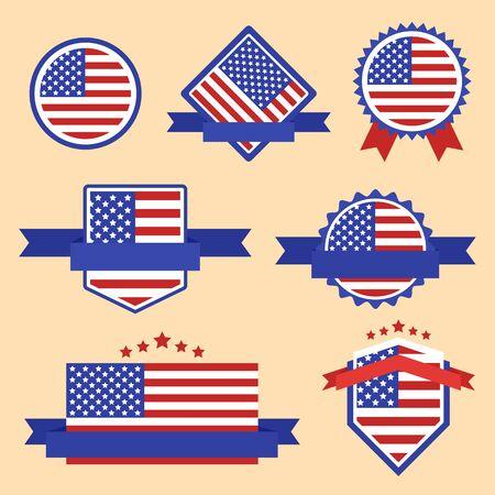 Flaggen der Welt-Serie. USA-Flagge auf Umbauten, Web-Aufkleber, Banner und Etiketten Sammlung. Vektor-Label in den nationalen Farben der USA-Flagge. Vector Flagge der USA. Abzeichen, Banners, Emblem in Vektor-EPS-10