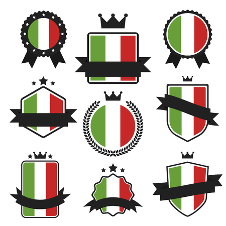 bandera italia: Banderas del mundo de la serie. La bandera de Italia en las etiquetas, etiquetas engomadas del Web, banners y colección de etiquetas. vector de la etiqueta en colores nacionales de la bandera italiana. Bandera del vector de Italia. Insignia, bandera, emblema del vector en EPS 10 Vectores