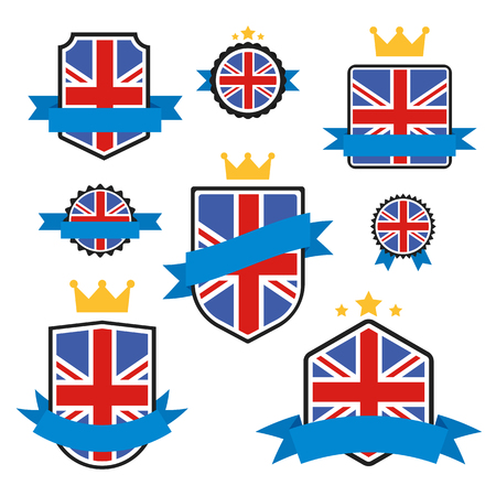 britannia: World Flags Series. United Kingdom Flag on Tags, Web Stickers, Banners and Labels collection. Vector label in national colors of  UK Flag. Vector Flag of United Kingdom. Badge, Emblem in Vector EPS 10