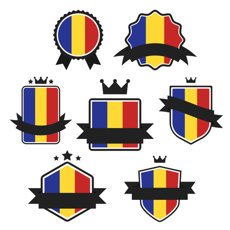 romanian: World Flags Series. Romania Flag on Tags, Web Stickers, Banners and Labels collection. Vector label in national colors of  Romanian Flag. Vector Flag of Romania. Badge, Banner, Emblem in Vector EPS 10 Illustration