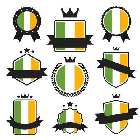 irish banner: World Flags Series. Irish Flag on Tags, Web Stickers, Banners and Labels collection. Vector label in national colors of  Irish Flag. Vector Flag of Ireland. Badge, Banner, Emblem in Vector EPS 10 Illustration