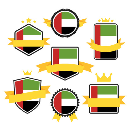 arab flags: World Flags Series. United Arab Emirates on Tags, Web Stickers, Banners and Labels collection. Vector label in national colors of  United Arab Emirates Flag. Vector Flag of United Arab Emirates Illustration