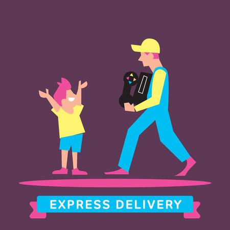 Servicios de transporte expreso. Elementos de transporte por carretera. Envío rápido. Icono del vector de entrega. Expresar entrega de mercancías. Servicio de entrega, de salida del cargo.