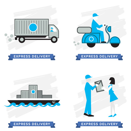 mail icon: Express Delivery Services. Elements of Trucking. Express Delivery of Goods. Delivery Service, Cargo Delivery.