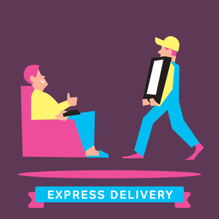 trucking: Express Delivery Services. Elements of Trucking. Fast Shipping. Icon Delivery vector. Express Delivery of Goods. Delivery Service, Cargo Delivery. Illustration