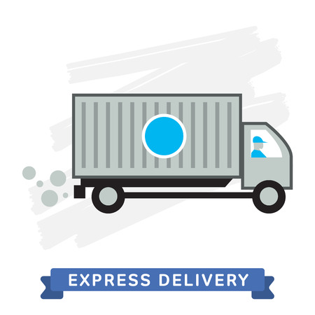 transport of goods: Express Delivery Transport. Delivery Van. Elements of Trucking. Fast Delivery. Vector Icon of Delivery Van. Express Delivery of Goods. Delivery Service