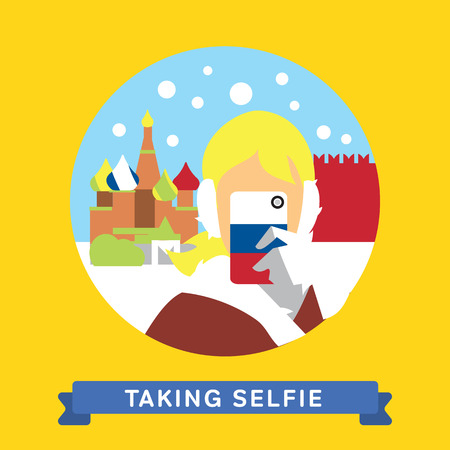 moscow russia: Girl doing selfie on smartphone in Moscow, Russia. Take a photo selfie. Vector illustration.