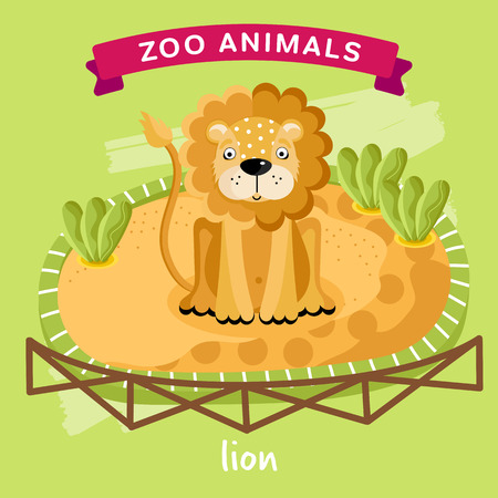 lion cartoon: Vector Zoo Animals series, Animal in a cage, Lion Illustration Cartoon Character. Cartoon Zoo Animal. Vector Lion