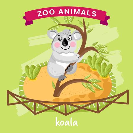 koala: Vector serie animales del parque zoológico, animales en una jaula, la koala del personaje de dibujos animados. Zoo de animales de dibujos animados. vector koala