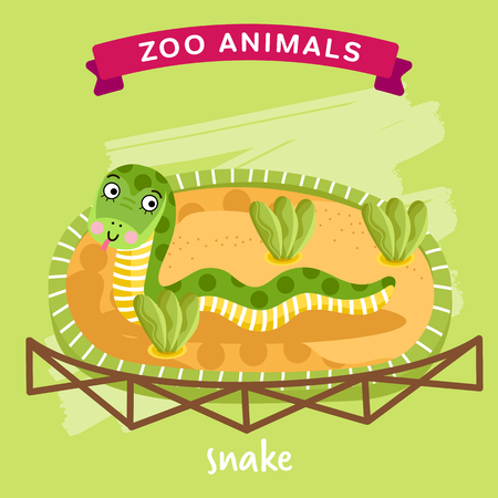 cartoon snake: Vector Zoo Animals series, Animal in a cage, Snake Illustration Cartoon Character. Cartoon Zoo Animal. Vector Snake