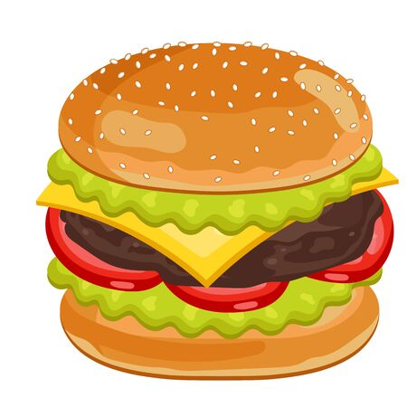 cheese burger: Vector Cheeseburger Isolated on White Background. All Ingredients in the Cheese Burger in Layers. Classic Cheeseburger.