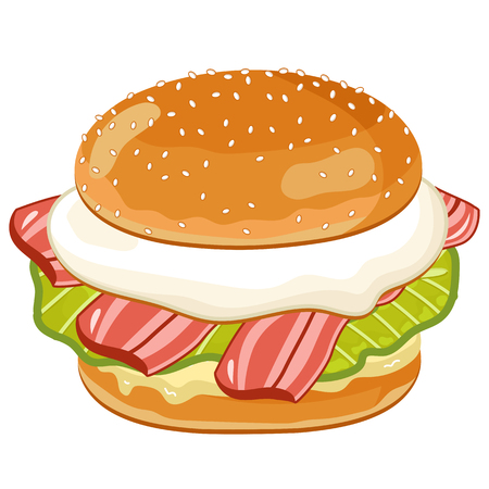 Vector Bacon and Egg Burger Isolated on White Background. All Ingredients in the Burger in Layers. Classic Burger.