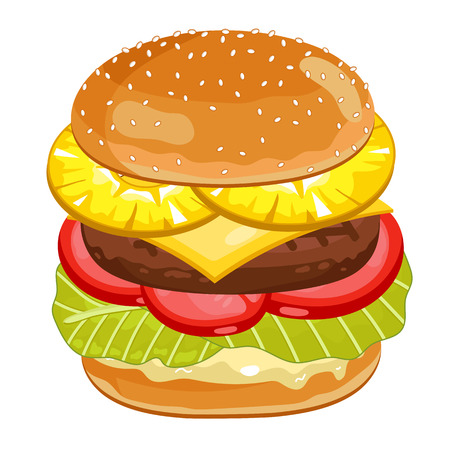 classic burger: Vector Pineapple Burger Isolated on White Background. All Ingredients in the Burger in Layers. Classic Burger.