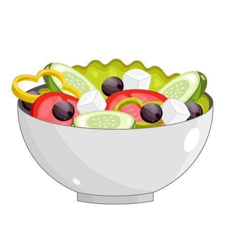 Vector Griekse salade op een witte achtergrond.
